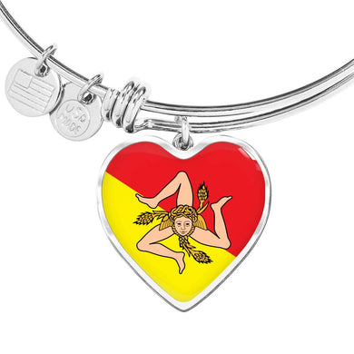 Sicilian Flag with Heart Charm Bangle in Stainless Steel