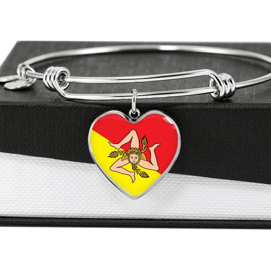 Sicilian Flag with Heart Charm Bangle in Stainless Steel & Gold option
