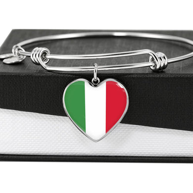 Italian Flag with Heart Charm Bangle in Stainless Steel & Gold option