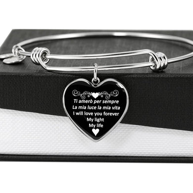I Will Love You Forever with Heart Charm Bangle in Gold & Stainless Steel