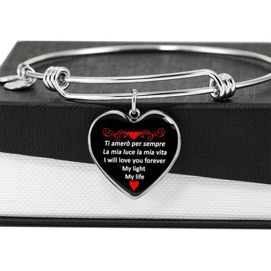 I Will Love You Forever in Red with Heart Charm Bangle in Gold & Stainless Steel