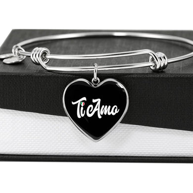 Ti Amo with Heart Charm Bangle in Gold & Stainless Steel