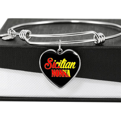 Sicilian Nonna with Black Heart Charm Bangle in Gold & Stainless Steel