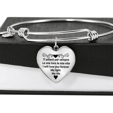 I Will Love You Forever with Transparent Heart Charm Bangle in Gold & Stainless Steel