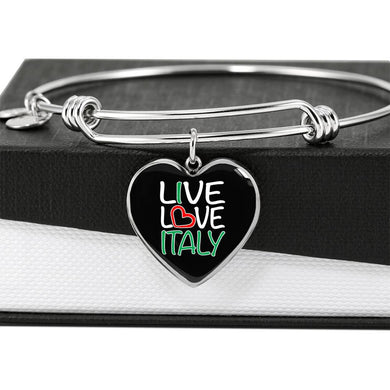 Live Love Italy with Heart Charm Bangle in Gold & Stainless Steel