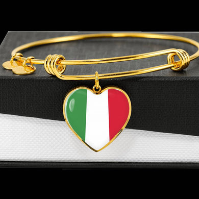 Gold Italian Flag with Heart Charm Bangle