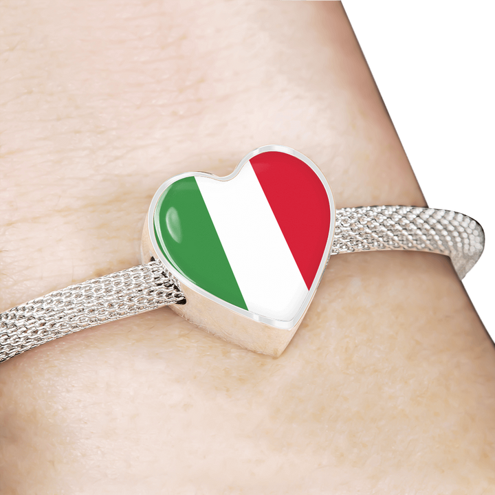 Italian Flag With Heart Charm Bracelet