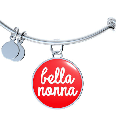 Bella Nonna With Red Circle Charm Bangle