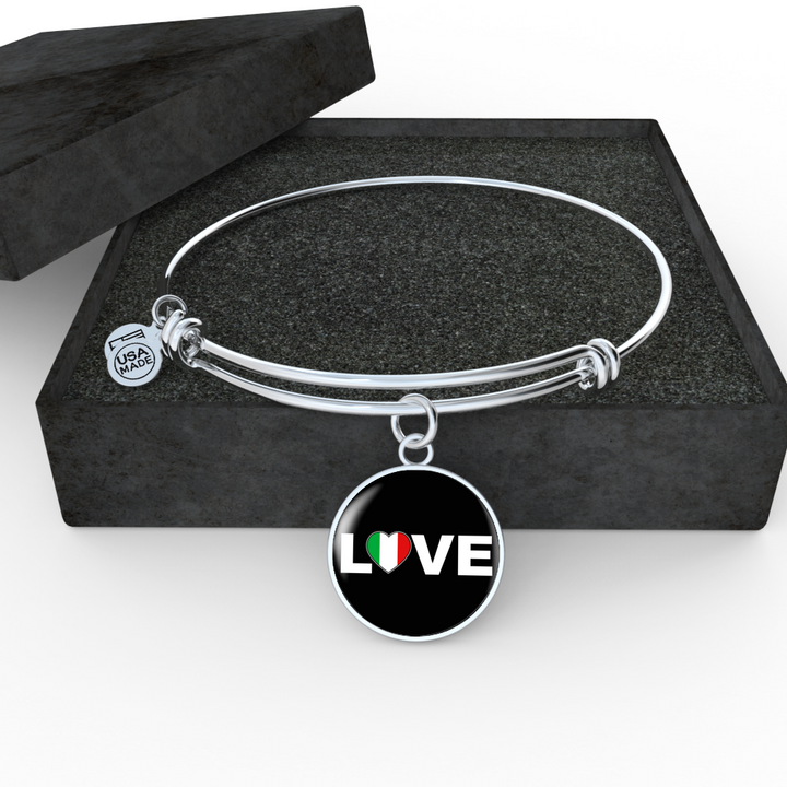 Italian Love With Black Circle Charm Bangle