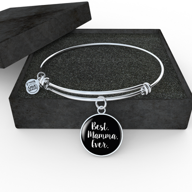 Best Mamma Ever with Black Circle Charm Bangle
