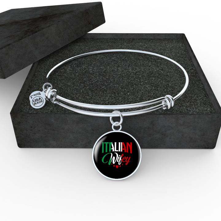 Italian Wifey With Circl Charm Bangle