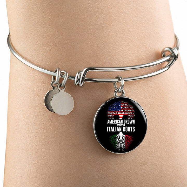 American Grown with Italian Roots with Circle Charm Bangle