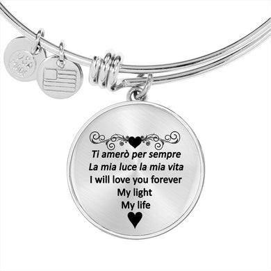 I Will Love You Forever with Transparent Circle Charm Bangle in Gold & Stainless Steel