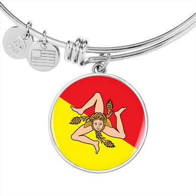 Sicilian Flag With Circle Charm Bangle in Gold & Stainless Steel