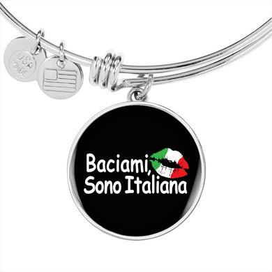 Kiss Me I'm Italian with Circle Charm Bangle in Gold & Stainless Steel