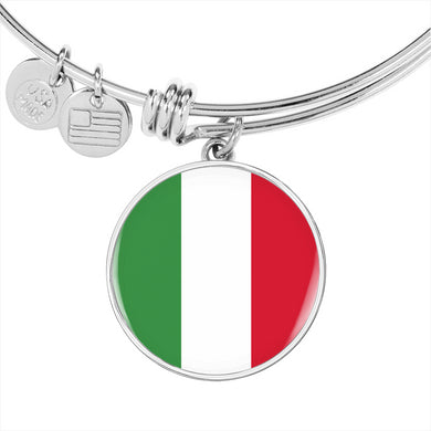 Italian Flag Circle Bangle in Gold & Stainless Steel