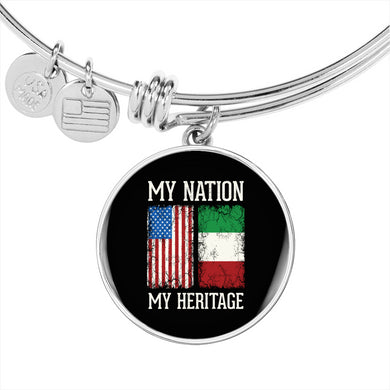Italian My Nation My Heritage With Circle Charm Bangle in Gold & Stainless Steel