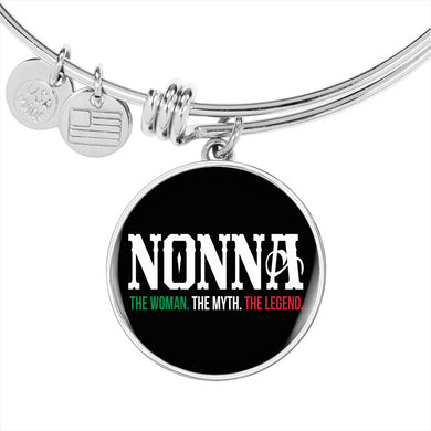 Nonna The Woman The Myth The Legend with Circle Charm Bangle in Gold & Stainless Steel