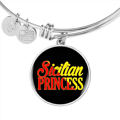 Sicilian Princess With Circle Charm Bangle in Gold & Stainless Steel