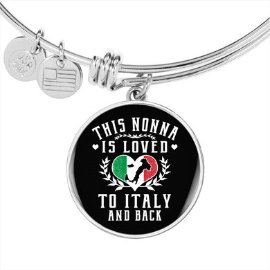 This Nonna is Loved to Italy and Back with Circle Charm Bangle in Gold & Stainless Steel