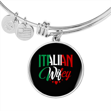Italian Wifey With Circl Charm Bangle in Gold & Stainless Steel