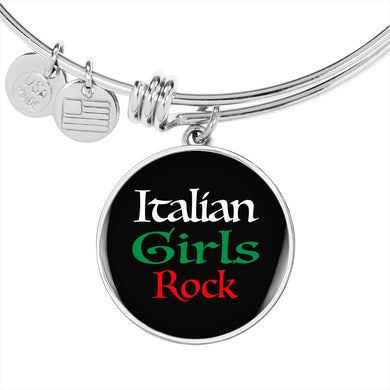 Italian Girls Rock With Black Circle Charm Bangle in Gold & Stainless Steel