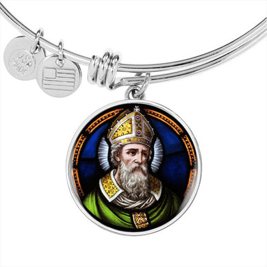 St. Patrick With Circle Charm Bangle in Gold & Stainless Steel
