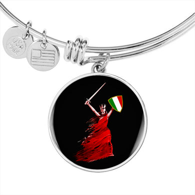 Italian Woman Warrior with Circle Charm Bangle in Gold & Stainless Steel