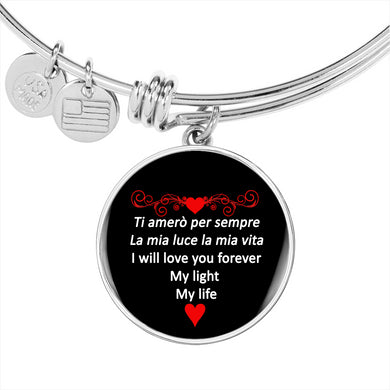 I Will Love You Forever in Red with Circle Charm Bangle in Gold & Stainless Steel