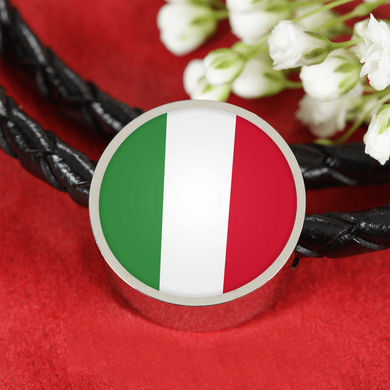 Italian Flag with Circle Charm Leather Bracelet
