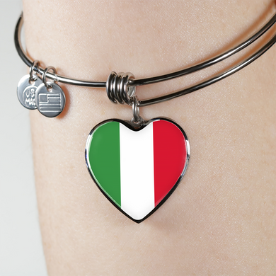 Italian Flag with Heart Charm Bangle