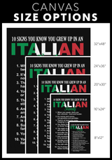 10 Signs You Grew Up In An Italian Family Portrait Canvas Wall Art