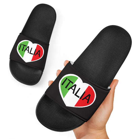Italia Heart Black Slide Sandal