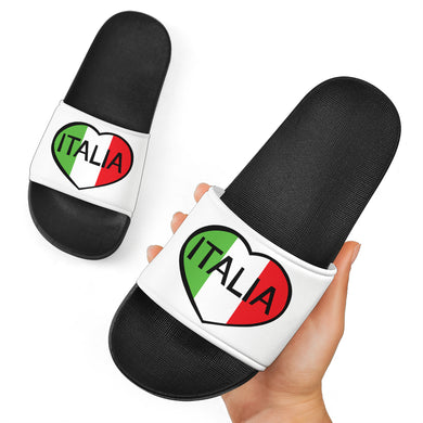 Italia Heart Black & White Slide Sandal
