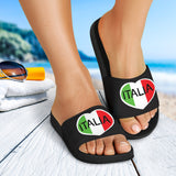Italia Heart Black - Women's Slide Sandals