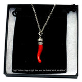 Italian Red Horn Necklace - Silver Cornicello Good Luck Pendant with Sterling Silver Chain