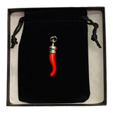 Italian Red Horn Pendant - Silver Cornicello Good Luck Pendant