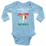 God Sent Me Nonna With Heart Long Sleeve Baby Onesie