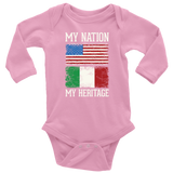 Italian My Nation Long Sleeve Baby Onesie