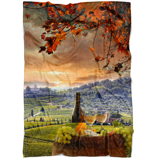 Chianti Tuscany Fleece Blanket - Portrait