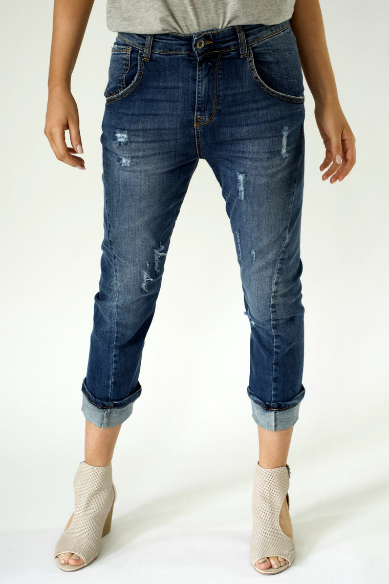 Distressed Denim Pants with Cuff - indosso