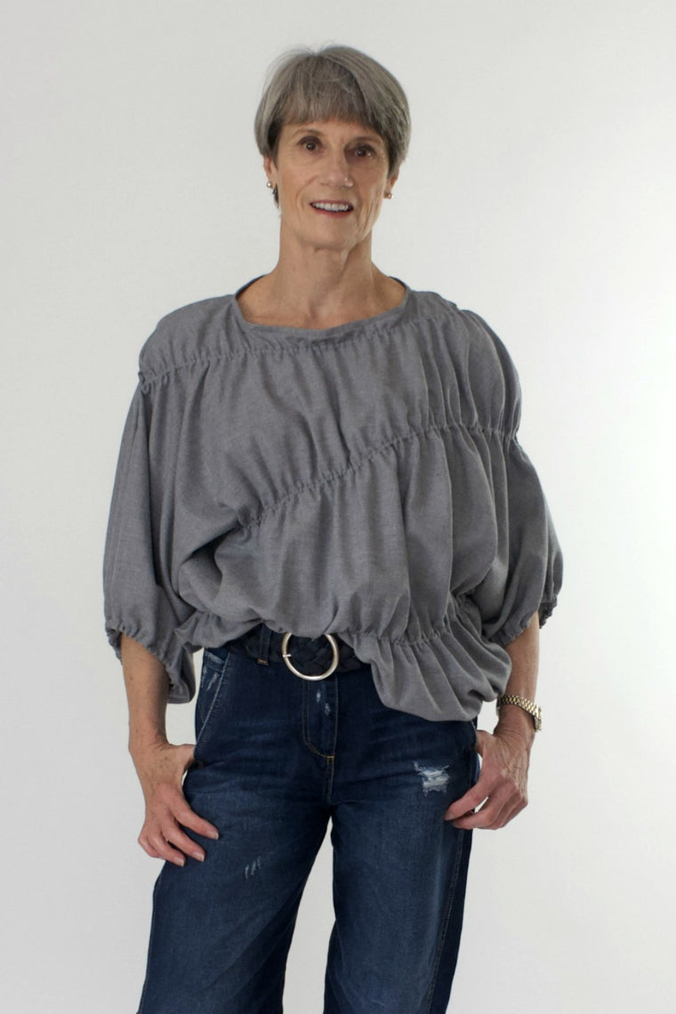 Bell Sleeve Elastic Top in Wool