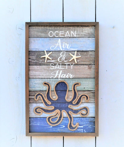 Ocean Air and Salty Hair Beach Sign