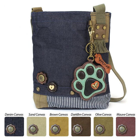 Patch Crossbody Bag - Teal Paw Print