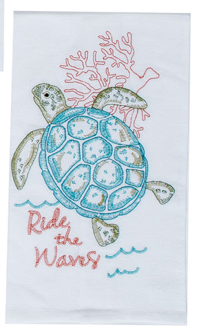 Sea Turtle Embroidered Towel
