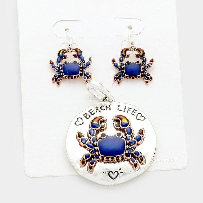 Pendant and Earrings Set -  Blue Crab