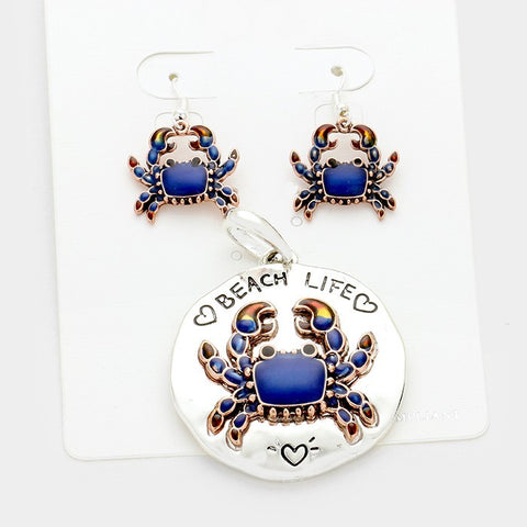 Blue Crab Pendant and Earrings Set