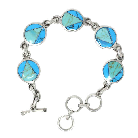 Bracelet - Fair Trade Handcrafted Mexican Alpaca Silver and Turquoise