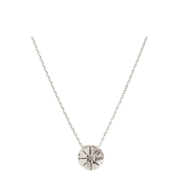 Compass Necklace with Bookmark - Silver