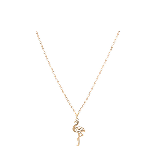 Flamingo Necklace with Bookmark - Gold